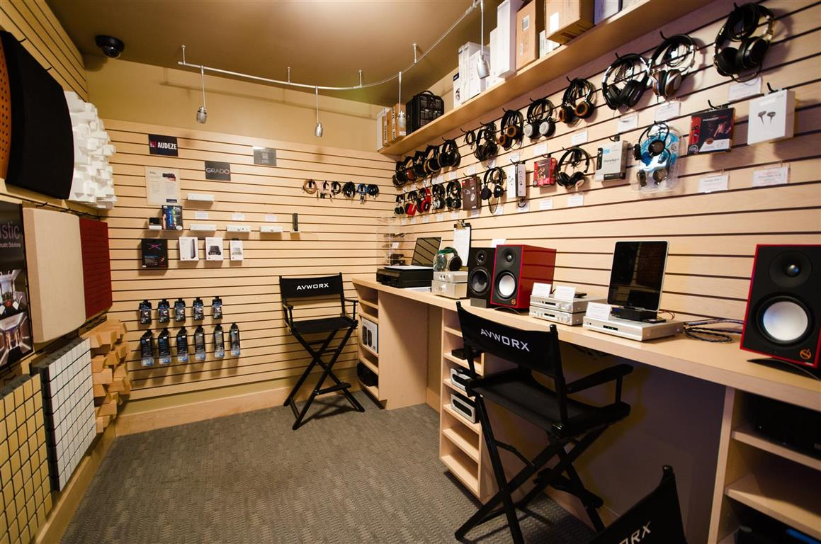 AVWORX store with headphones and speakers