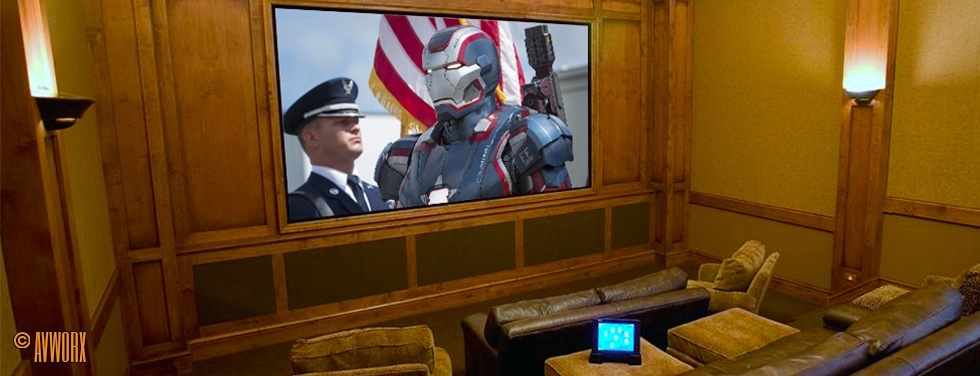Home Theater with Iron Man on Screen
