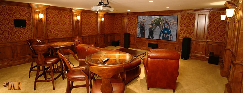 Home Theater in Classy Family Room