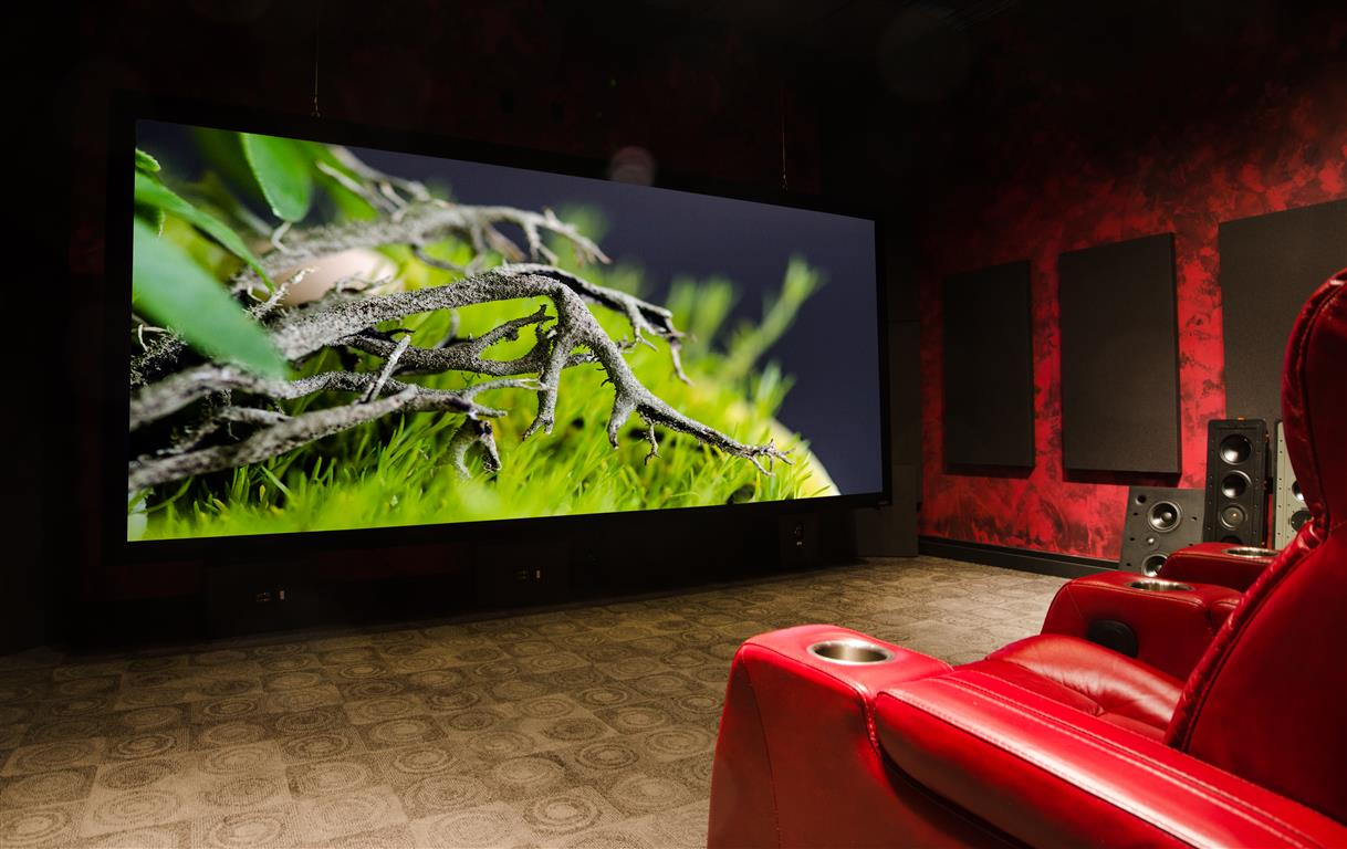 Home Theater with Red Leather Seats