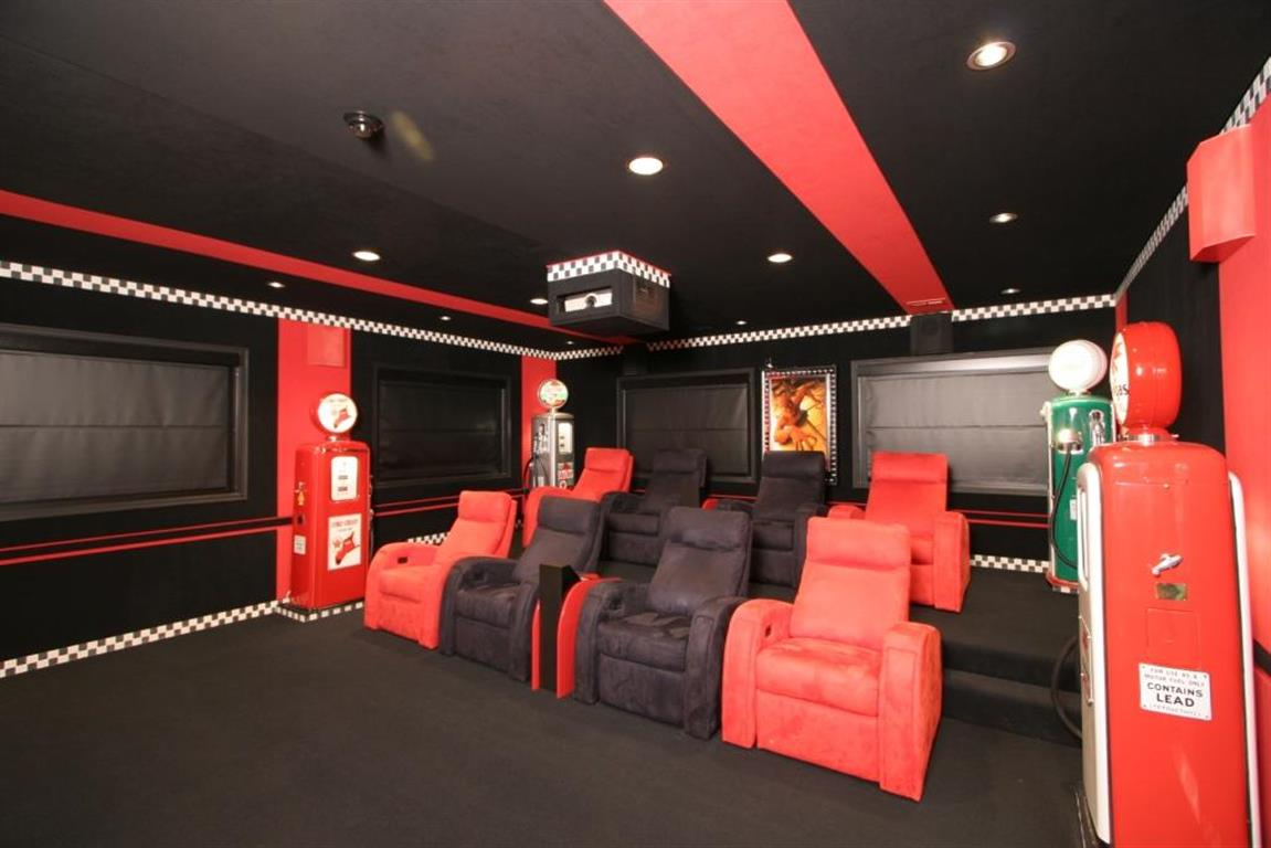 Home Theater with Racing Motif (seat view)