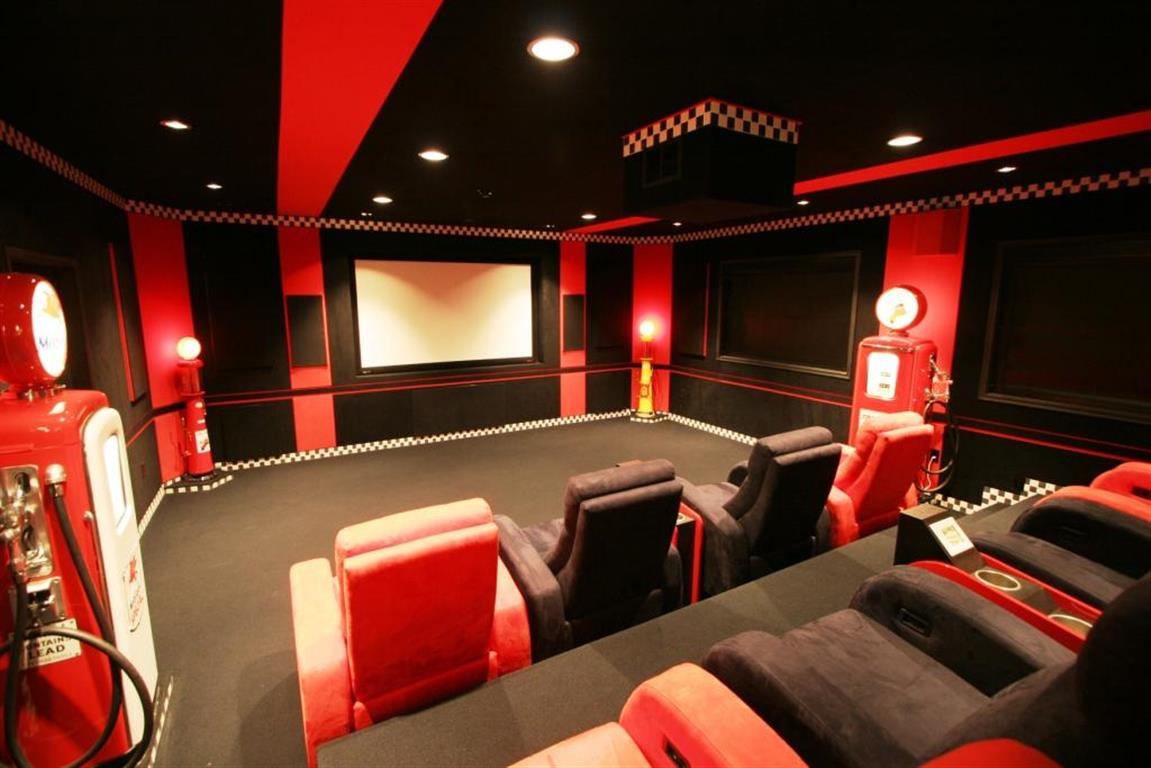 Home Theater with Racing Motif