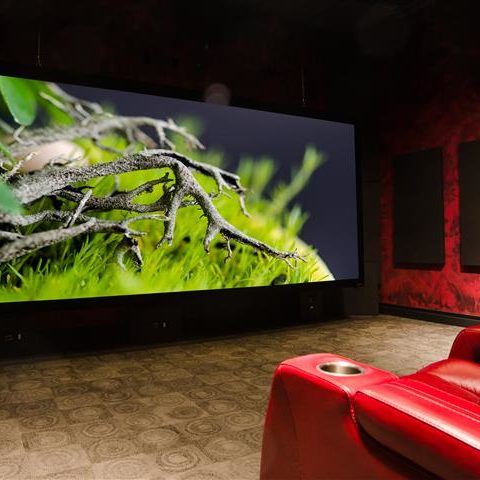 Home Theater with Red Leather Seating