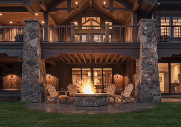Front of Mountain Smart Home with Outdoor Fire